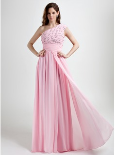 A-Line/Princess One-Shoulder Floor-Length Chiffon Holiday Dress With Ruffle Beading