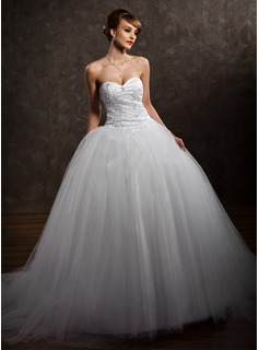 Ball-Gown Sweetheart Chapel Train Satin Wedding Dress With Lace Beading Sequins