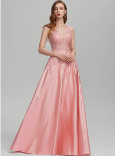 A-Line V-neck Floor-Length Prom Dresses With Beading Sequins