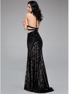 Trumpet/Mermaid Halter Sweep Train Sequined Prom Dresses With Lace Beading Split Front