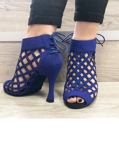 Women's Suede Heels Swing With Hollow-out Dance Shoes