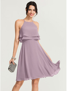 Square Neckline Knee-Length Chiffon Cocktail Dress