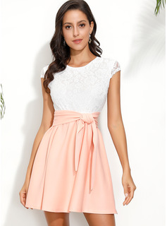 Polyester With Lace/Bowknot/Color-block Above Knee Dress