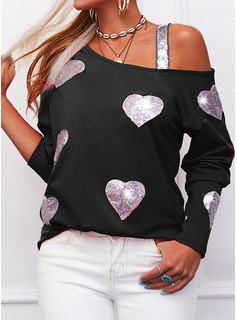 Regular Fitted Sequins Heart Casual Long Sleeves