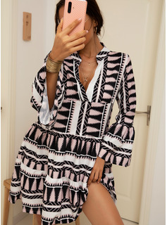Geometric Print Shift V-Neck Long Sleeves Midi Casual Vacation Dresses