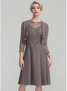 Scoop Neck Knee-Length Chiffon Lace Mother of the Bride Dress