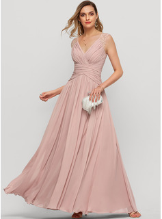 A-Line V-neck Floor-Length Chiffon Evening Dress With Beading Sequins Split Front