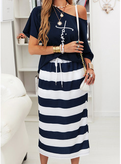 Print Striped Sheath One Shoulder Short Sleeves Midi Casual Dresses