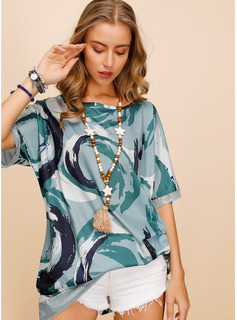 Manches courtes Polyester Col rond Blouses