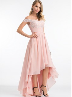 Off-the-Shoulder Asymmetrical Chiffon Evening Dress With Sequins