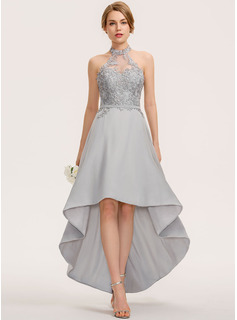 A-Line Halter Asymmetrical Chiffon Lace Bridesmaid Dress