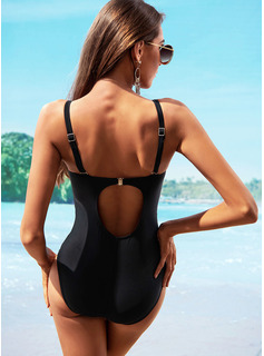 Sexy Solid Color Chinlon Nylon One-piece