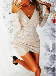 Sequins Bodycon V-Neck Long Sleeves Midi Little Black Party Dresses