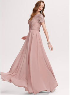 A-Line Scoop Neck Floor-Length Chiffon Prom Dresses