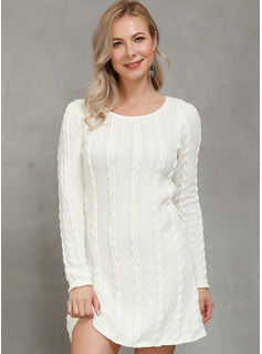 Polyester With Knitting/Solid Above Knee Dress
