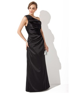 Sheath/Column Off-the-Shoulder Floor-Length Charmeuse Evening Dress With Ruffle