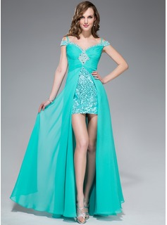 A-Line/Princess Off-the-Shoulder Floor-Length Chiffon Sequined Prom Dresses With Ruffle Beading Split Front