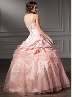 Ball-Gown Strapless Floor-Length Taffeta Organza Quinceanera Dress With Ruffle Lace Beading