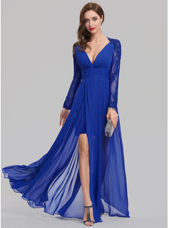 A-Line/Princess V-neck Floor-Length Chiffon Evening Dress With Split Front