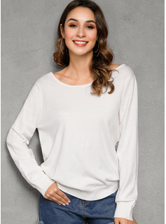 Solid Round Neck Pullovers Sweaters