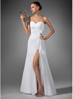 Sweetheart Floor-Length Chiffon Evening Dress With Ruffle Split Front