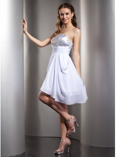 Empire Strapless Asymmetrical Chiffon Sequined Homecoming Dress With Ruffle