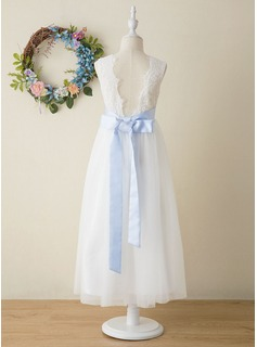 A-Line Ankle-length Flower Girl Dress - Tulle/Lace Sleeveless Scoop Neck (Detachable sash)