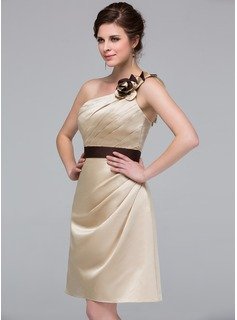 Sheath/Column One-Shoulder Knee-Length Satin Bridesmaid Dress With Ruffle Sash Flower(s)