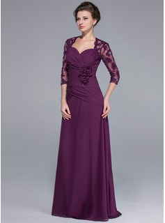 A-Line/Princess Sweetheart Sweep Train Chiffon Mother of the Bride Dress With Lace Beading Flower(s) Sequins