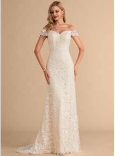 Trumpet/Mermaid Off-the-Shoulder Sweep Train Satin Lace Wedding Dress