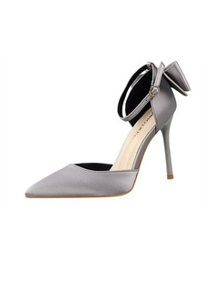 Women's Sparkling Glitter Silk Stiletto Heel Pumps With Bowknot shoes