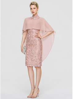 Sheath/Column High Neck Knee-Length Lace Cocktail Dress