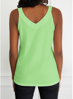Regular Fitted Solid Basic Casual Sleeveless