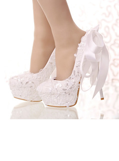 Women's Leatherette Stiletto Heel Closed Toe Platform Pumps With Bowknot Sequin