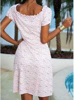 Floral Print Sheath Round Neck Short Sleeves Midi Casual Dresses