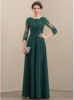 A-Line Scoop Neck Floor-Length Lace Stretch Crepe Mother of the Bride Dress