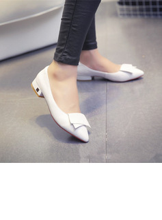 Women's PU Chunky Heel With Bowknot shoes