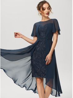Sheath/Column Scoop Neck Asymmetrical Chiffon Lace Cocktail Dress