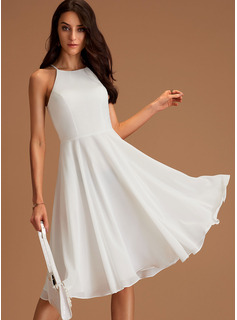 A-Line Scoop Neck Knee-Length Chiffon Bridesmaid Dress