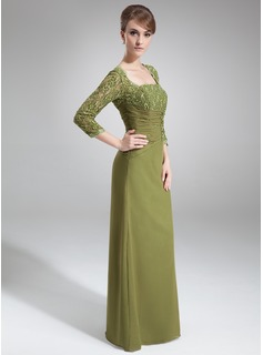 Sheath/Column Square Neckline Floor-Length Chiffon Mother of the Bride Dress With Beading Sequins