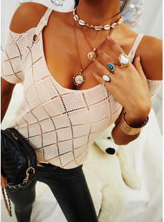 Cold Shoulder Short Sleeves Solid Casual Knit Tops