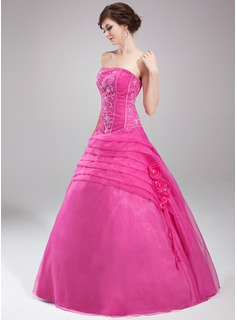 Ball-Gown Strapless Floor-Length Organza Quinceanera Dress With Ruffle Beading Flower(s) Sequins
