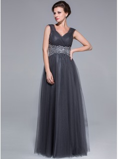 A-Line/Princess Sweetheart Floor-Length Tulle Mother of the Bride Dress With Ruffle Beading