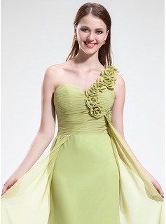 Trumpet/Mermaid One-Shoulder Sweep Train Chiffon Bridesmaid Dress With Ruffle Flower(s)