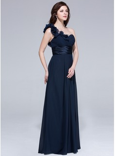 Chiffon One-shoulder Empire Floor-length Bridesmaid Dress With Ruffle Flowers