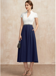 A-Line V-neck Tea-Length Stretch Crepe Mother of the Bride Dress With Beading Sequins Pockets