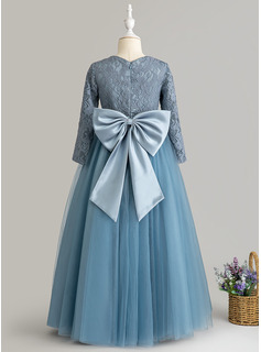 Ball-Gown/Princess Floor-length Flower Girl Dress - Tulle Lace Long Sleeves Scoop Neck With Bow(s)