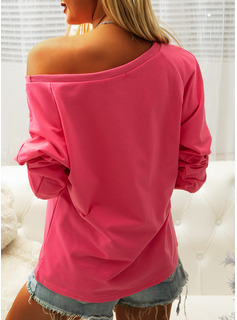 Regular Cotton Blends One Shoulder Print Fitted Blouses