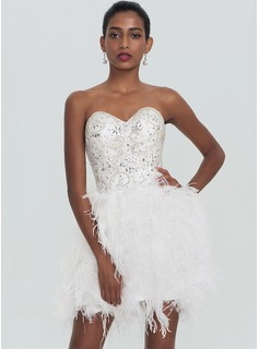 A-Line/Princess Sweetheart Short/Mini Feather Homecoming Dress With Beading Sequins