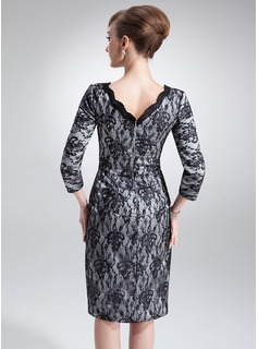 Sheath/Column V-neck Knee-Length Charmeuse Lace Mother of the Bride Dress With Ruffle